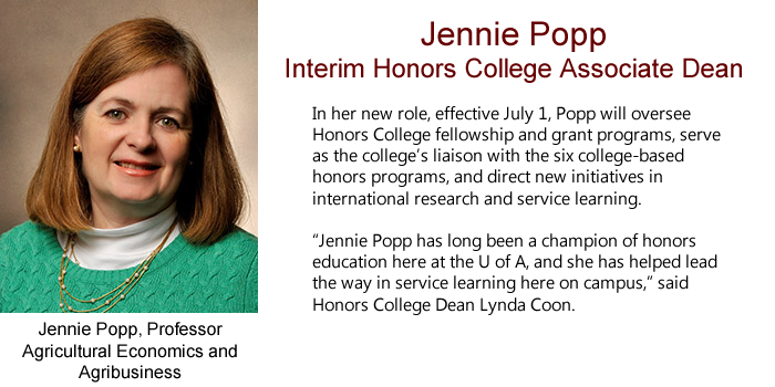 Jennie Popp, Professor of Agricultural Economics & Agribusiness, Named as Interim Honors College Associate Dean.